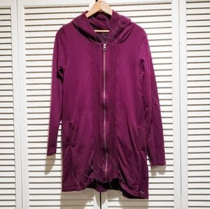 Prana Zip Up Tunic Length Hooded Cardigan